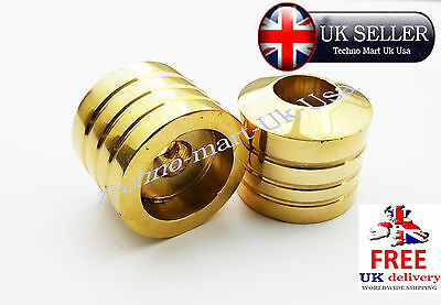 "22mm 7/8"" BRASS MOTORCYCLE STANDARD HANDLEBAR ROUND BAR END WEIGHTS PAIR @UK"