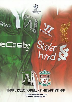 2014 LUDOGORETS v LIVERPOOL CHAMPIONS LEAGUE VIP ONLY PROGRAMME