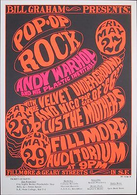 VELVET UNDERGROUND & NICO - ANDY WARHOL - MOTHERS1966 Concert Poster BG 8-3 MINT
