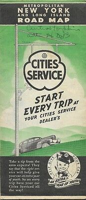 1941 CITIES SERVICE Road Map LONG ISLAND New York City Westchester County Queens