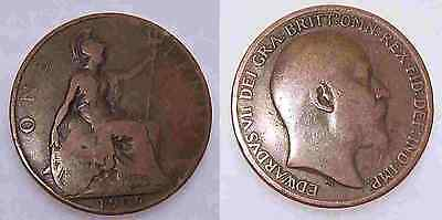 1909 Edward VII One Penny Coin