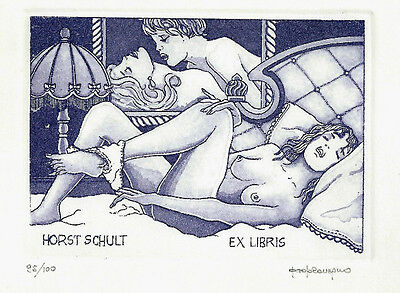 Erotisches Exlibris Paolo Rovegno / Schult Erotic Nude Ready for Bed c3 sign.