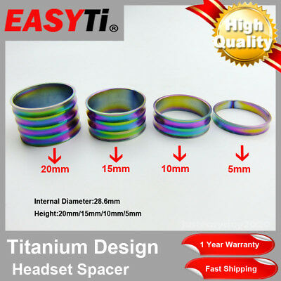 """EasyTi  Coloful Titanium/Ti Spacer 1-1/8""""(5-10-15-20mm)  Headset&Stem front fork"""