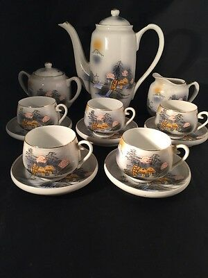 Kutani Coffee Set Hand Painted Cups Saucers Coffee Pot Milk Jug Sugar Bowl
