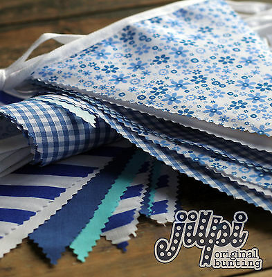 10-40ft HANDMADE BLUE FABRIC BUNTING, BESPOKE LENGTHS AVAILABLE, VINTAGE CHIC!