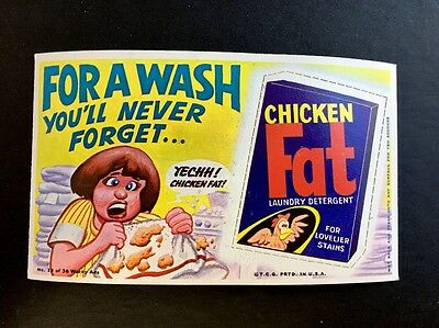 RARE 1969 Topps WACKY ADS Large Card PACKAGES RARE Short PERF CHICKEN FAT #13