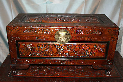Rare Antique Chinese Camphor Wood Hand Carved Large Dragon Chest