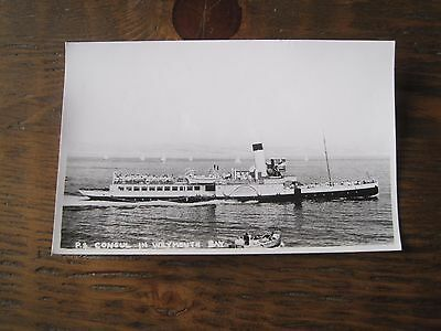 Vintage Postcard Rp Ps Consul In Weymouth Bay Paddle Steamer