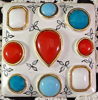 """Vintage Castlecliff Brooch Pin White Enamel and Bright Inset """"Stones"""" Signed"""