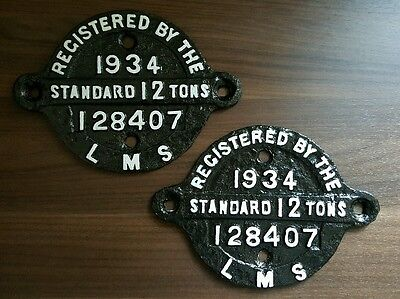 LMS Standard 12 Ton wagon plate 1934 - Rare matching pair