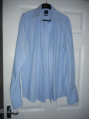 Daniel Hechter mens blue with white striped long sleeved cotton shirt