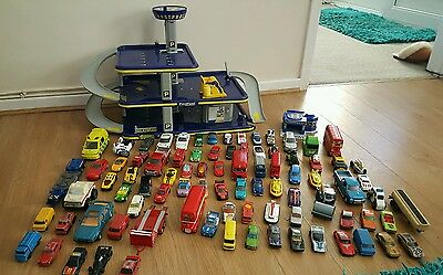 bundle of 80 plus toy cars die cast hot wheels. matchbox  etc with garage