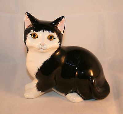 Vintage Porcelain Black And White Cat With Glass Eyes