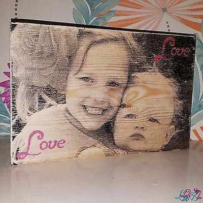 """Personalised Wooden Photo Block   10"""" x 6.9""""   Large   Add Own Image   Special"""