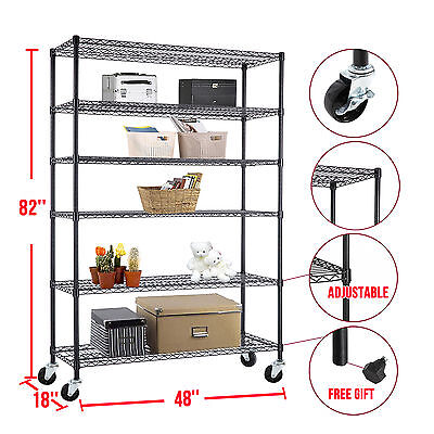 "Adjustable 6 Tier 82""x48""x18"" Steel Heavy Duty Layer Wire Shelving Rack Shelf"