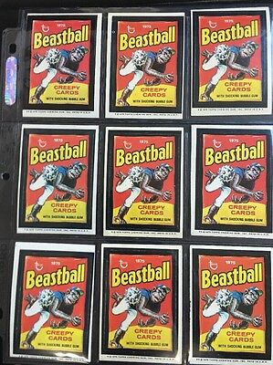 1975 ORIGINAL 13th SERIES Topps Wacky Packages Lot of 18 BEASTBALL Stickers