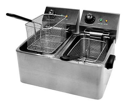 """Professional 8ltrs Double Deep Fat Fryer 12 month Commercial """"on site"""" Warranty"""