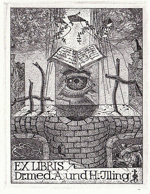 Exlibris Heinz Plank / Dr. med. Illing Medical Bookplate Etching C3 sign 1986