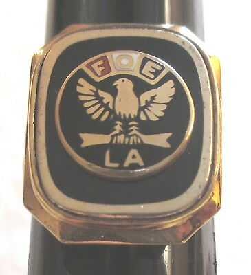 Vintage Fraternal Order of Eagles Ladies Auxiliary FOE LA Ring-Size 6 10K G.F.