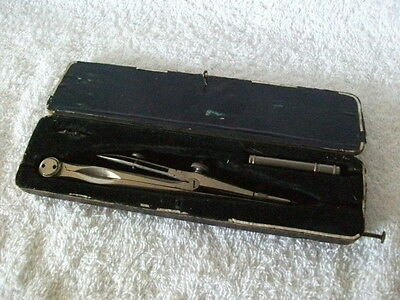 A Cased Victorian Unusual Combination Compass Drawing Instrument Complete