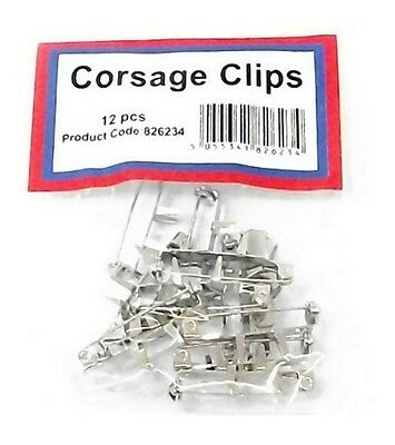 Pack of 12 Corsage Clips / Buttonhole Clip  - Wedding Prom Ball Corsage Metak