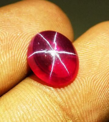 7.40 Ct Natural Oval GGL Certified 6 Rays Blood Red Star Ruby Loose Gemstone