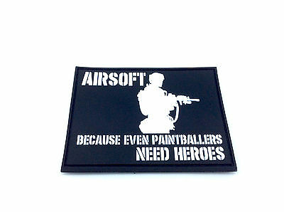 Airsoft Because Even Paintballers Need Heroes White Airsoft Velcro PVC Patch