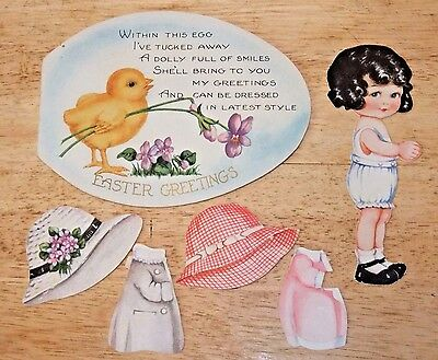 c.1930 Vintage EASTER CARD with PAPER DOLL & Clothing, Easter Egg Greeting Card