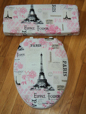 Paris Pink Black French Chic Eiffel Tower  Bathroom Decor Toilet Seat Cover Set