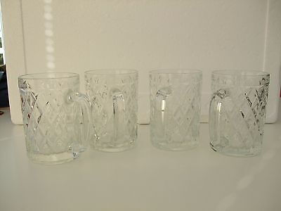 Set of Four (4) Vintage Retro Pressed Glasses ½ Pint Tankards with Handles