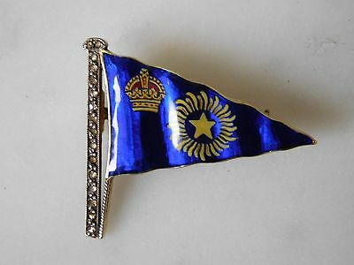 SCARCE ANTIQUE 18ct GOLD MOUNTED ROYAL BOMBAY YACHT CLUB DIAMOND & ENAMEL BROACH