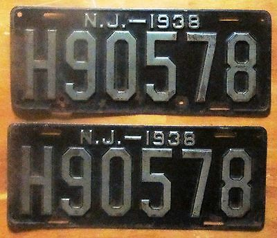 New Jersey 1938 HUDSON COUNTY License Plate PAIR # H90578
