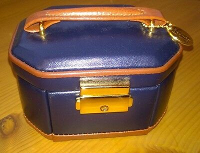 Jewellery Box in Navy Blue and tan leather by Dulwich Designs
