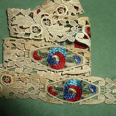 Five Antique Hand Embroidered/Lace Applique Length