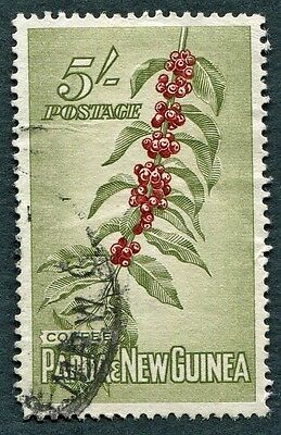 PAPUA NEW GUINEA 1958-60 5s crimson & olive-green SG24 used NG Coffee Beans #W9