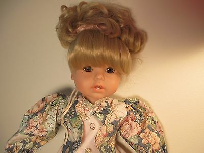 "EARLY 18"" GOTZ SOFT-BODY DOLL BLONDE HAIR & BROWN EYES w ORIGINAL DRESS 297/16"