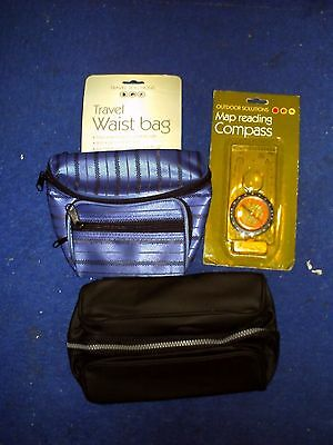 Travel Waist Bag + Map Reading Compass + Mens Toiletry Bag: All New