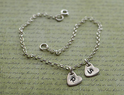 Sterling Silver Two Personalised Heart Charm Ankle Chain Bracelet Anklet 925