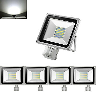 5X 50W LED Floodlight PIR Motion Sensor Outdoor Security Lamp IP65 Cool White