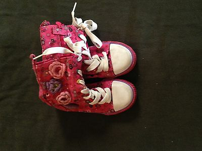 The Children's Place Pink Floral High Top Tennis Shoes Size 11