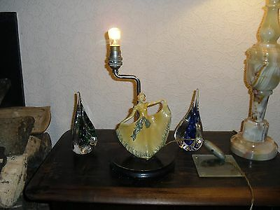 VINTAGE ORNATE POTTERY DANCING LADY TABLE LAMP c1930's,