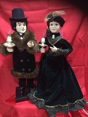 """Vintage 27"""" Traditions Animated Victorian Christmas Couple"""