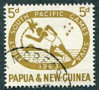 PAPUA NEW GUINEA 1963 5d bistre SG49 used NG South Pacific Games Suva #W9
