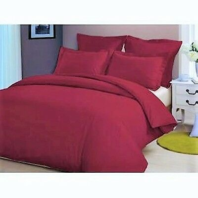 100% Egyptian Cotton 200TC DOUBLE Duvet Cover Set Cranberry Red Luxury soft