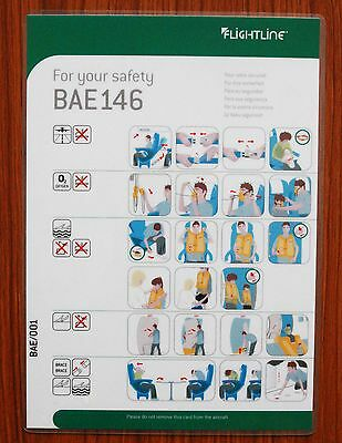 Flightline (UK) BAe 146 Safety Card - Very good - Defunct airline