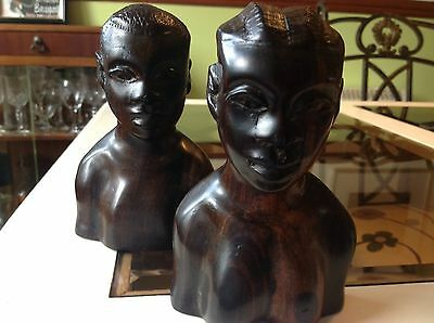 Pair African Male and Female Carved Wooden Heads Vintage