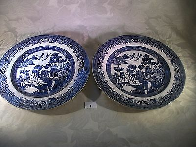 Pair Churchill Blue and White Transfer Ware Dinner Plate Willow Pattern