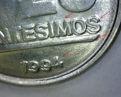 1994/1994 URUGUAY 20 CENTESIMOS,**MONSTER**DOUBLE DIE REVERSE, WORLD Error Coin