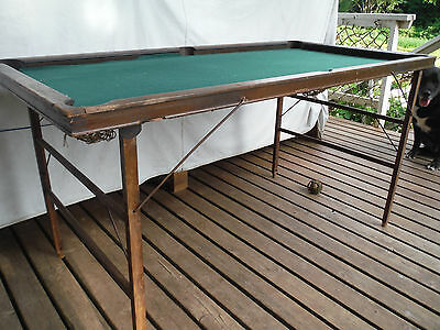 Antique Portable Pool Table E T Burrowes #37X Folding Wood Billiards Childs Cues