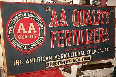 Vintage Advertising Canvas Banner American Agriculture AA Quality Fertilizers NY